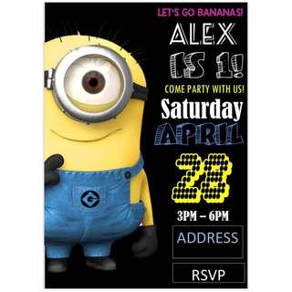 Minion Theme Birthday Invitation eCard