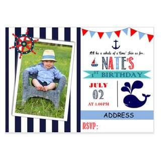 Nautical Theme Birthday Invitation eCard