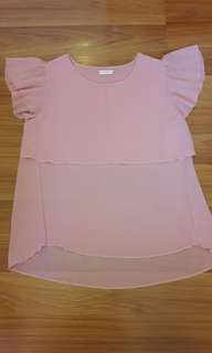 Breastfeeding Nude Pink Chiffon Top