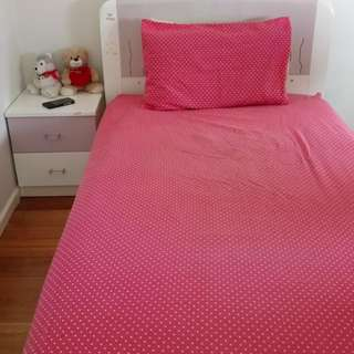 Kids king single bed, mattress and bedside table