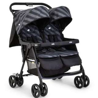 Join Aire Twin Stroller in Liquorice Black Grey stripes (double pram)