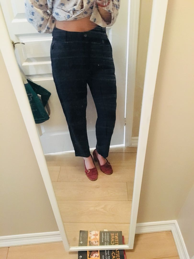 100% wool high waisted pants