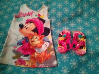Minnie Mouse for 1-3 yrs old sandal and dress
