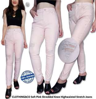 Now soft pink shreded knee highwaisted stretch jeans