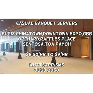 Casual Banquet Servers @ Various Locations ($8.50/hr to $9/hr)