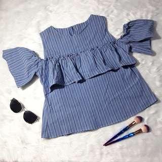 Cold shoulder blue stripe blouse