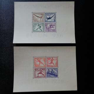 [lapyip1230] 納粹德國 1936年 柏林奥運會小全張 原膠新品 Mint - 珍品