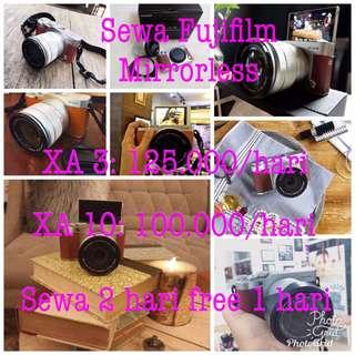 Sewa kamera fujifilm mirrorless xa10 dan xa3