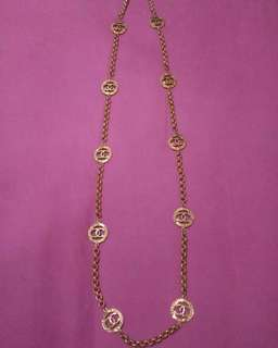 Vintage chanel long necklace CC logo
