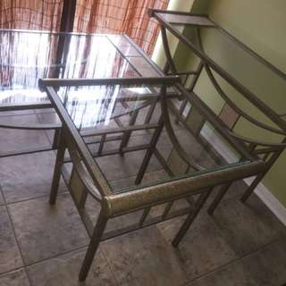 2 piece glass tables
