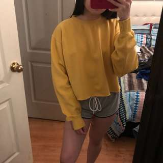 Brandy Melville Mustard Yellow crop crewneck