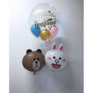 """24"""" personalised helium balloon with add on balloons"""
