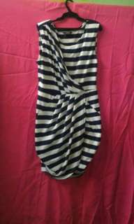 MAX Blue and White Striped Dress