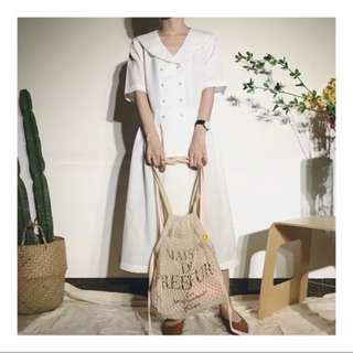 日本 MAISON DE REEFUR 粉色薄身帆布 沙灘網袋 套裝