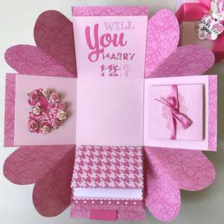 Will you marry me Explosion Box Card in Pink