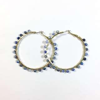 🚚 韓版 大圓藍色珠珠耳環💧