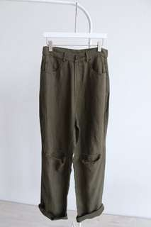 春夏輕薄高腰素色不修邊破洞抽鬚寬鬆顯瘦休閒寬管闊腿長褲-軍綠M