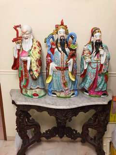 Fu Lu Shou 福禄寿 figurines + Marble Top Stand