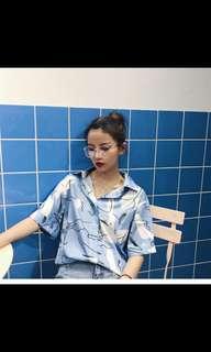 (Preorder) retro ulzzang blue shirt