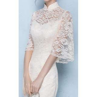 White lacey petite modern cheongsam dress