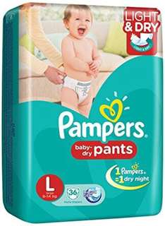 36pcs (+10) Pampers Baby Dry Pants (L)