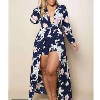 Sexy Floral Maxi Dress (Plus Size)