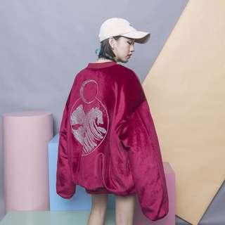 月牙原宿BF風刺繡寬鬆內鋪棉加厚絲絨棒球長袖外套-紅F
