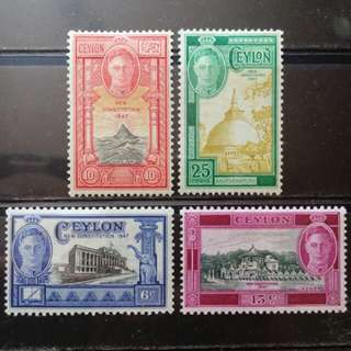 [lapyip1230] 英屬錫蘭 1947年 喬治六世 新憲法 原膠新品 Mint