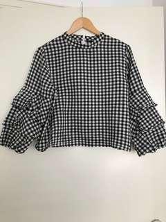 Zara gingham black and white top