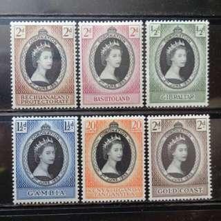[lapyip1230] 英屬地票集 1953年 女王登基 原膠新品 × 6 Set Mint