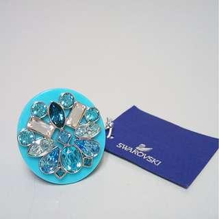 Swarvoski  粉藍水晶戒指