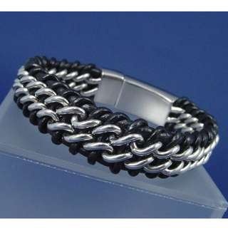 black genuine leather bracelet for men 男裝真皮手鍊(粗身; 重身)