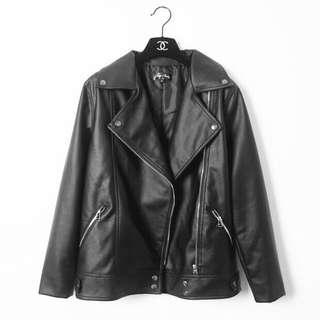 帥氣個性寬鬆BF風內鋪棉加厚長版機車長袖皮衣外套-黑L