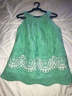 Little Miss 6y Halter Neck Mint Green Trapeze Top with Lace details