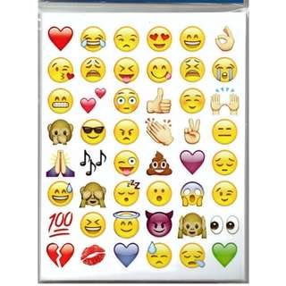 A. Lovely 48 Die Cut Emoji Smile Face Sticker for Phone Laptop (FREE POSTAGE)
