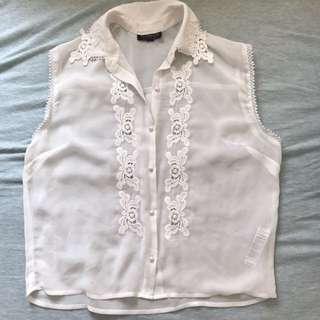 Topshop sleeveless sheer vest chiffon