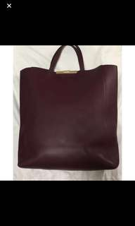 Reduce Price*100% Authentic* Celine Cabas Leather Tote In Burgundy-as Seen On Miranda Kerr