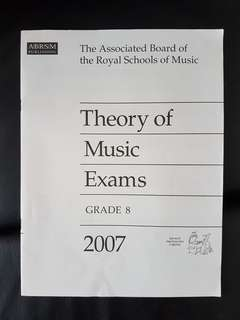 Theory of music exams grade 8 2007