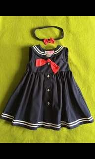 Sophie Rose  藍色無袖排釦洋裝 + 蝴蝶結鬆緊帶透圈  12個月