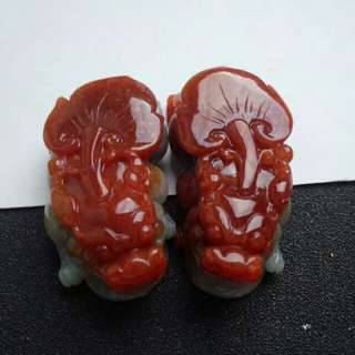 🍍Grade A Red Pixiu 鸿运当头 招财貔貅 Jadeite Jade Display🍍