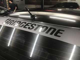 Bridgestone sunshade sticker