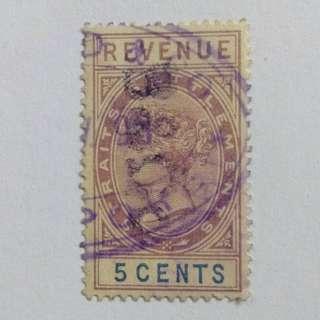 Straits Settlements QV 1882 5c revenue fiscal, label,local BL613