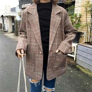 2018 retro British lattice buckle big lapel suit jacket
