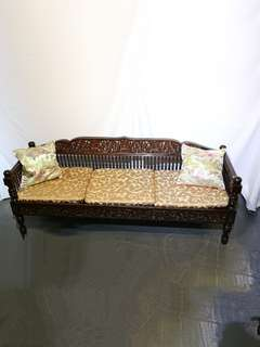 Teakwood With Carving 3 Seater Sofa Day Bed