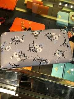 Prada wallet light blue grey flower