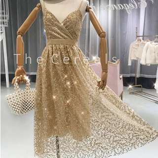 TC2217 Korea High Quality Glitter Strap Long Dress (Silver,Gold)