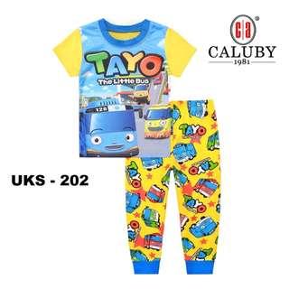Tayo Yellow Short Sleeve Pyjamas For (2 Yrs To 7 Yrs)