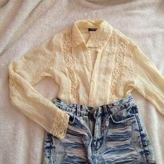 Lace Boho White off white polo shirt top
