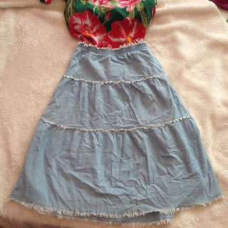 Boho coachella summer long denim skirt