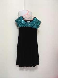 Black velvet with blue sequins princess party dress